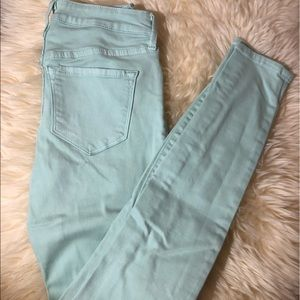 Old navy slightly distressed light turquoise jeans